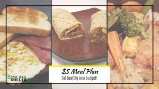 $5 Meal plan with pictures of breakfast, lunch and dinner