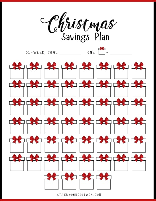 52 Week Christmas Savings Plan