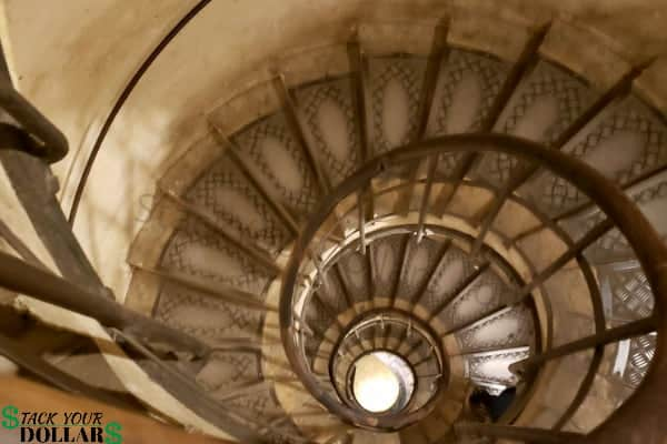 Image of winding stairs in the Arc de Triomphe