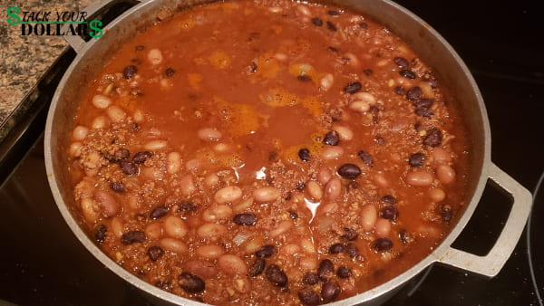 Cooking beef and bean burrito filling