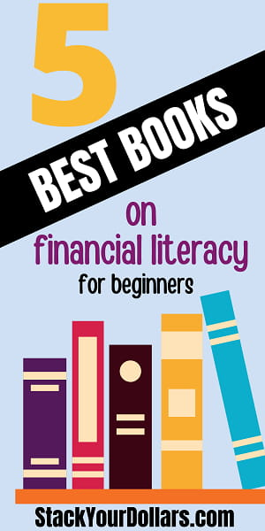 Pinnable image: 5 best books on financial literacy for beginners with bookshelf picture