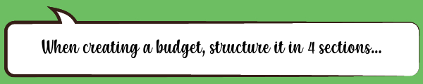 Speech Bubble: When creating a budget, structure it in 4 sections...