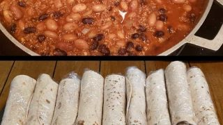 Frozen burrito filling and wrapped