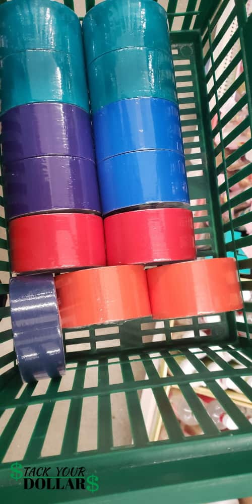 Colored duct tape from Dollar Tree