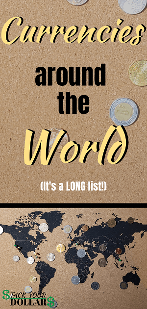 Currencies around the world pin