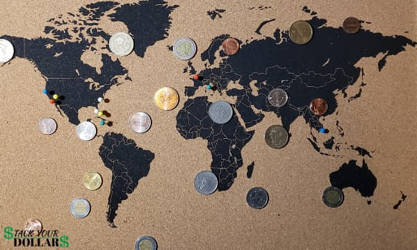 Currencies of the world on a map