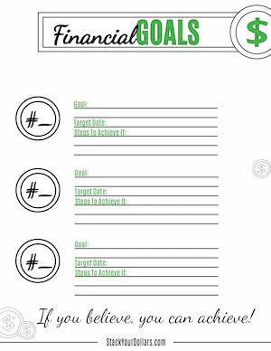 Financial Goals Worksheet PDF Image