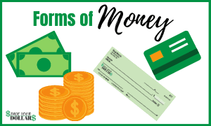 Image is of the forms of money: cash, coins, check, debit/credit card