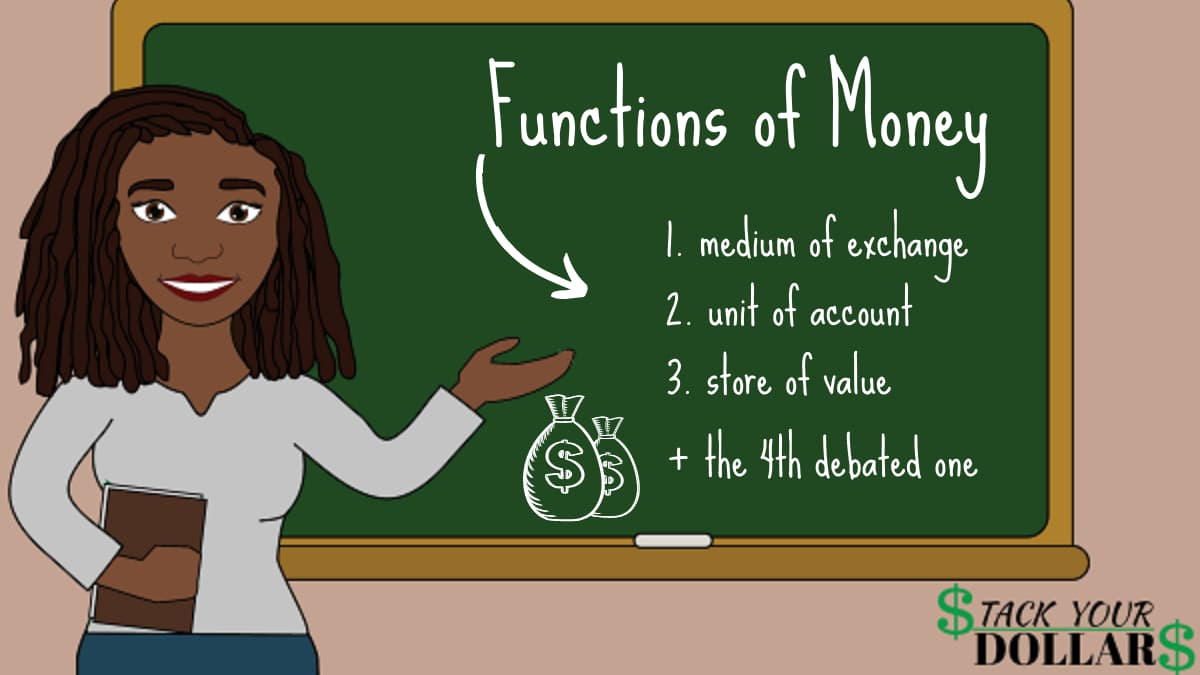 Chalkboard lesson showing the 3 functions of money