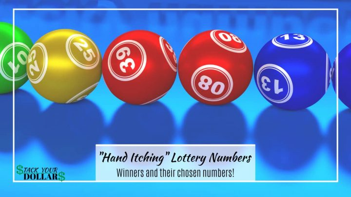 Lottery balls with title text: Hand itching lottery numbers