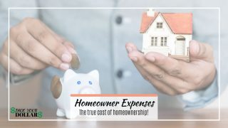 Toy house and hand putting money in piggy bank. Overlaid text: Homeowner expenses