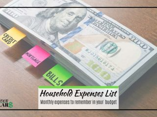 Stack of money with notes for bills and mortagage. Overlaid text: Household expenses list