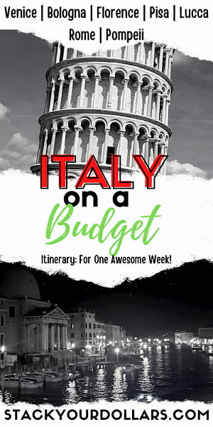 Image of Italy on a budget travel itinerary