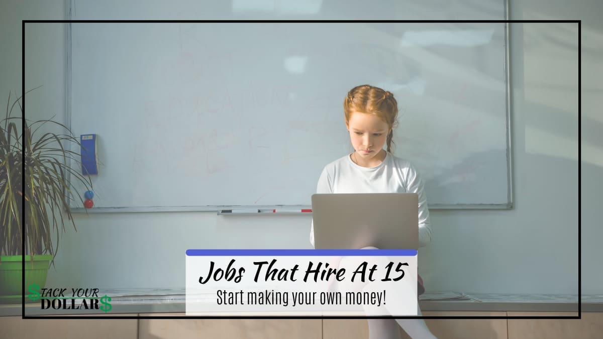 Female child working on a computer with title text: Jobs that hire at 15