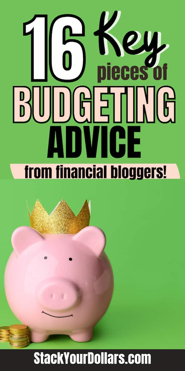 Piggy bank wearing crown with overlaid text: 16 key pieces of budgeting advice from financial bloggers