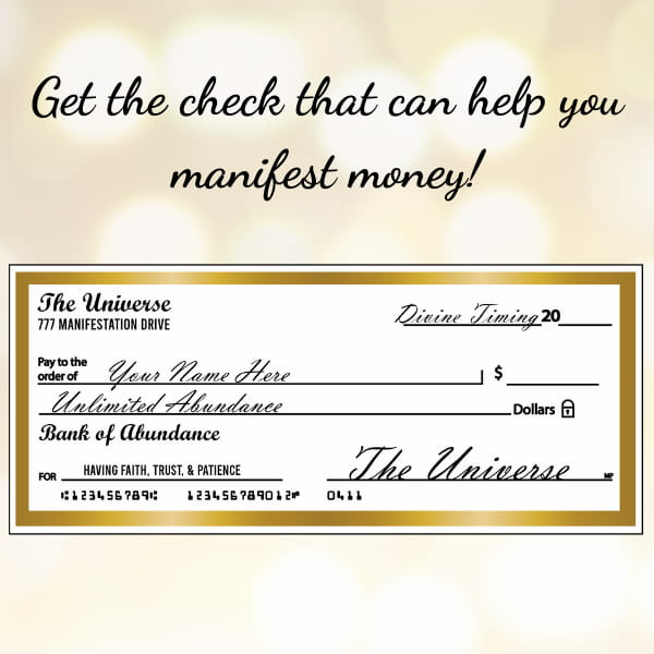 Abundance check to manifest money