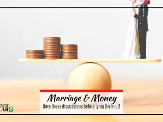 Married couple statue balancing on ball with money. Title: Marriage and money