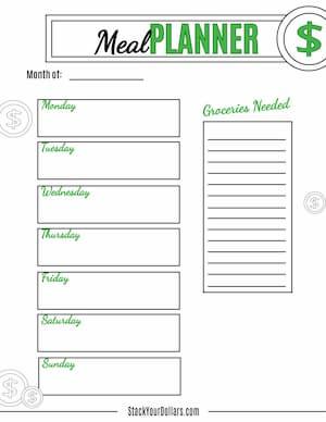 Weekly Meal Planner Template Printable