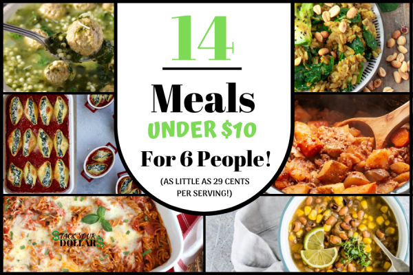 14 meals under $10 for 6 people