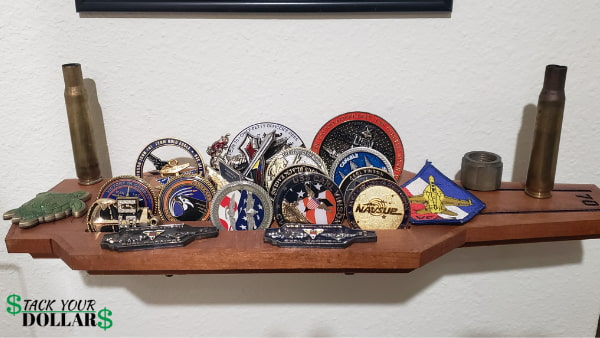 Wood military coin holder
