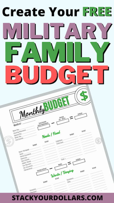 create your free Military family budget worksheet
