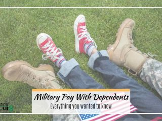 Title: Military pay with dependents over image of kids and adult legs on grass