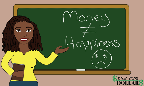 Image of Money Can't Buy Happiness on a chalkboard