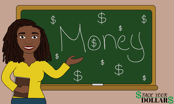 Image is of money and Money S symbol on a chalkboard