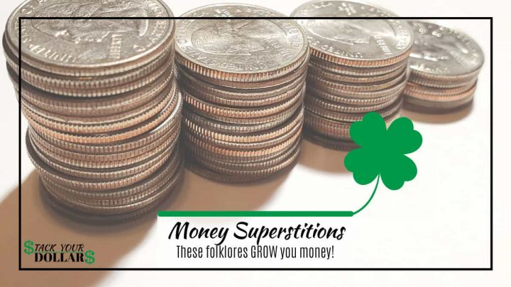 Money superstitions text over stack of coins