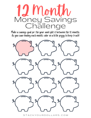 12 Month Monthly Saving Challenge