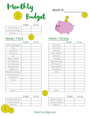 Cute Printable Monthly Budget