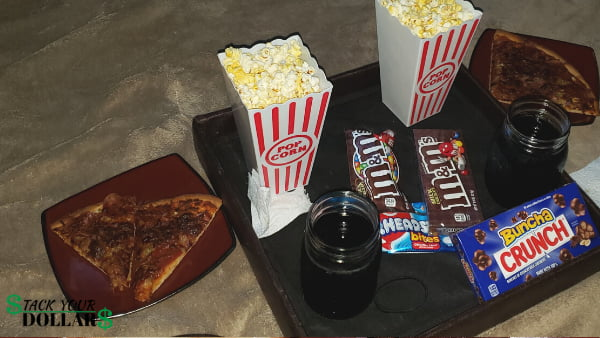 Movie date night snacks setup