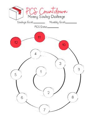 Number spiral PCS Countdown Money Saving Challenge