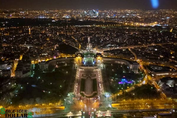 Image of Paris at night from the Eiffel Tower