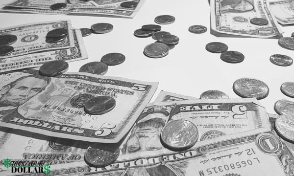 Picture of money: Bills and coins