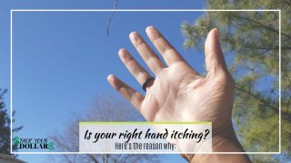 Palm of right hand showing against sky