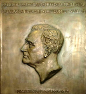 Selma Burke's relief sculpture of  Franklin D. Roosevelt that inspired the sculpture on the dime