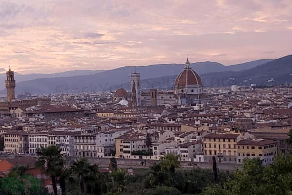 Image of sunset over Florence Italy