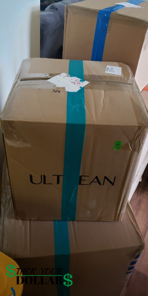 UB shipment boxes sealed with colored duct tape
