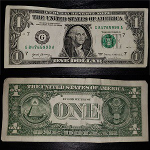 United States dollar (USD): 1 dollar bill (Front and back)