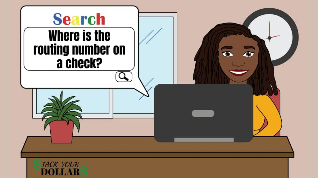 Search query about the routing number on a check