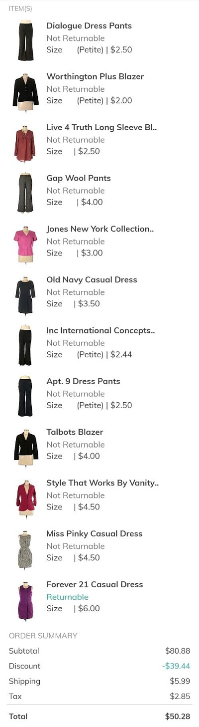 List of affordable clothing bought on a budget at thredup