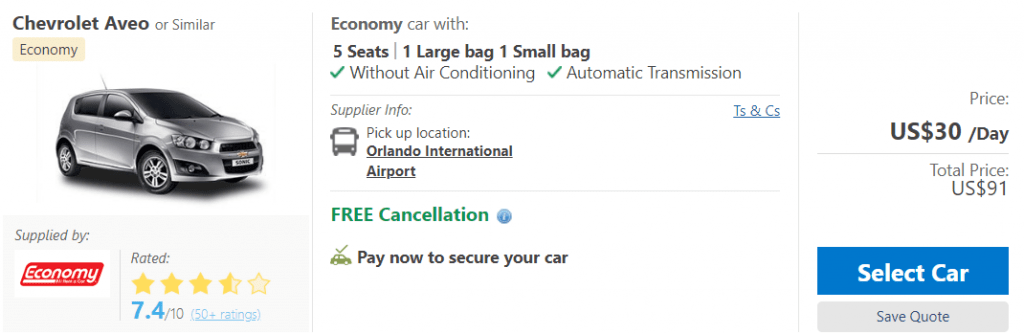 Economy has the cheapest car rental prices on Booking