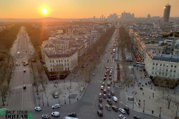 Image of Paris at sunset form the Arc de Triomphe
