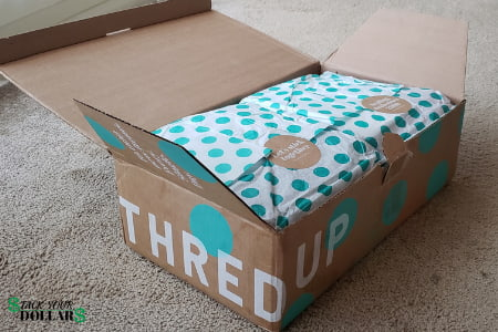 thredUP box of designer clothes for cheap